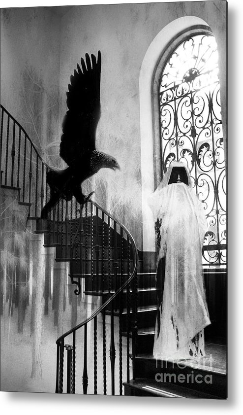 Grim Reaper Metal Print featuring the photograph Surreal Gothic Grim Reaper With Eagle Black and White - Halloween Spooky Haunting by Kathy Fornal