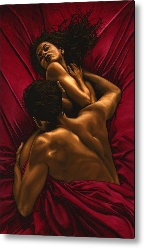 Nude Metal Print featuring the painting The Passion by Richard Young
