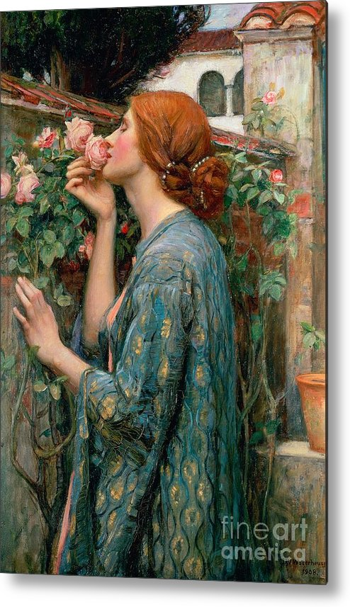 The Metal Print featuring the painting The Soul of the Rose by John William Waterhouse