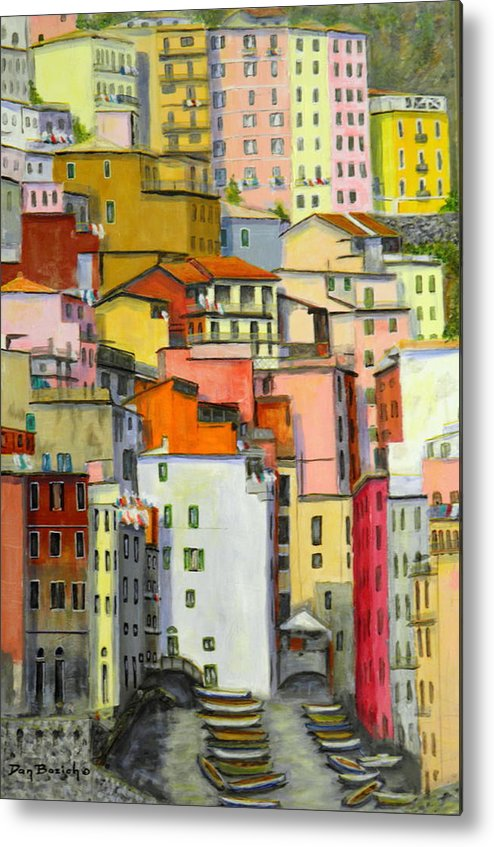 Village Metal Print featuring the painting Tuscany Village by Dan Bozich