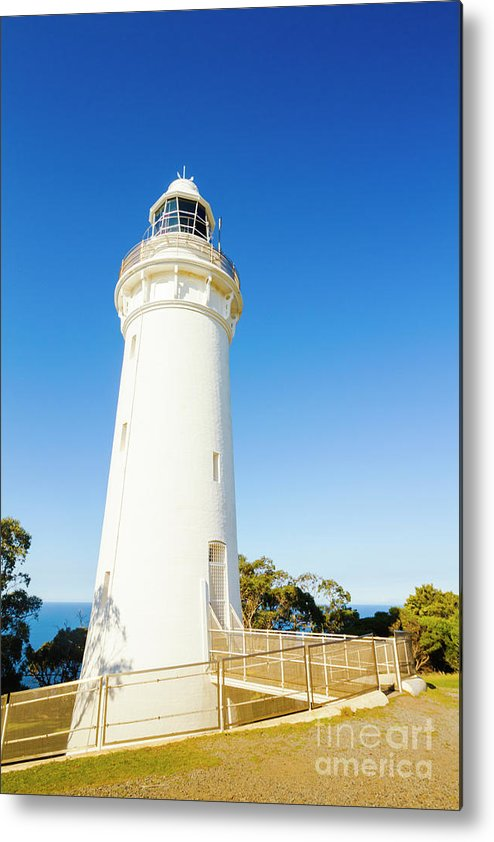 Lighthouse Metal Print featuring the photograph White Seaside Tower by Jorgo Photography - Wall Art Gallery