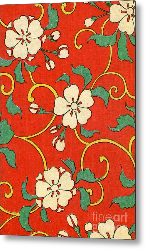 Red Metal Print featuring the painting Woodblock Print of Apple Blossoms by Japanese School