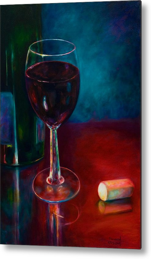 Wine Bottle Metal Print featuring the painting Zinfandel by Shannon Grissom
