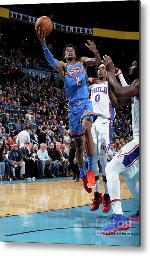 Nba Pro Basketball Metal Print featuring the photograph 76ers Vs Thunder by Zach Beeker