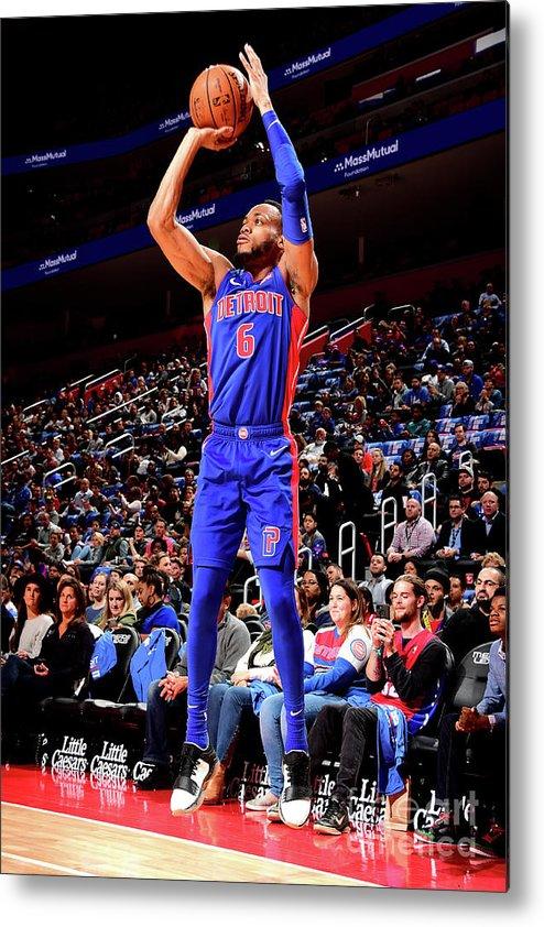 Nba Pro Basketball Metal Print featuring the photograph Brooklyn Nets V Detroit Pistons by Chris Schwegler