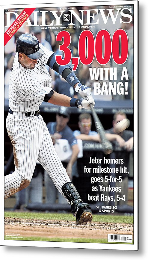 American League Baseball Metal Print featuring the photograph Daily News Front Page Derek Jeter by New York Daily News