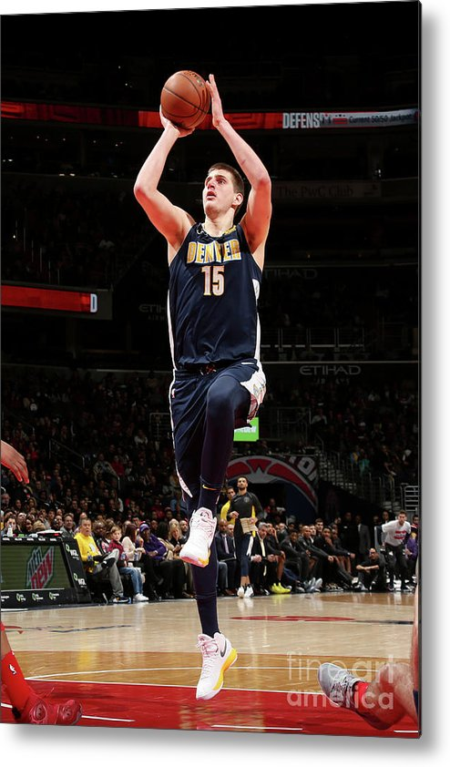Nba Pro Basketball Metal Print featuring the photograph Denver Nuggets V Washington Wizards by Ned Dishman