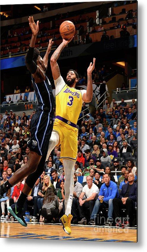Nba Pro Basketball Metal Print featuring the photograph Los Angeles Lakers V Orlando Magic by Gary Bassing