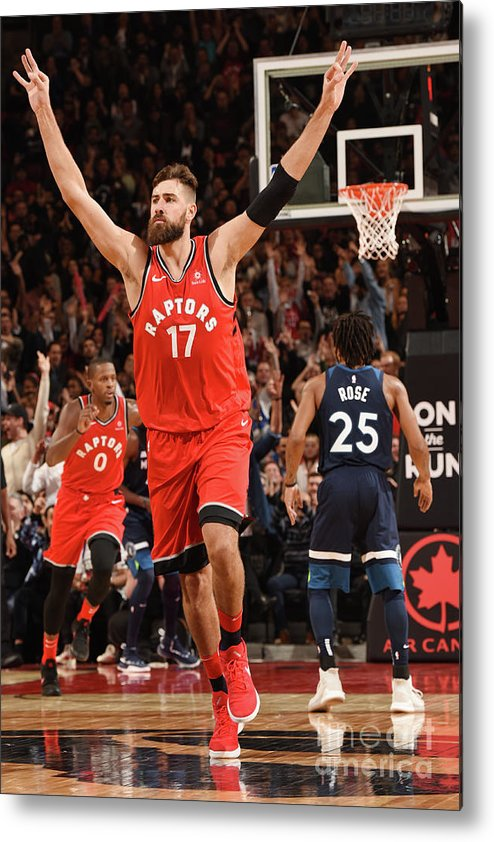 Nba Pro Basketball Metal Print featuring the photograph Minnesota Timberwolves V Toronto Raptors by Ron Turenne