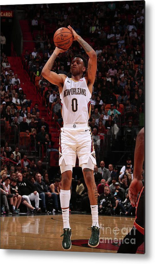 Nba Pro Basketball Metal Print featuring the photograph New Orleans Pelicans V Miami Heat by Issac Baldizon