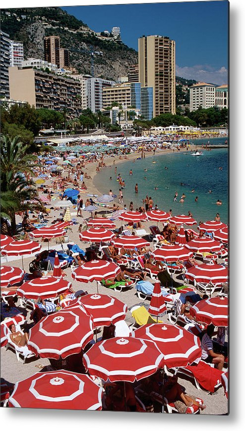 Shadow Metal Print featuring the photograph Overhead Of Red Sun Umbrellas At by Dallas Stribley
