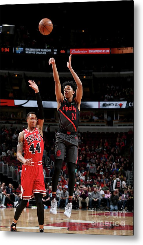 Nba Pro Basketball Metal Print featuring the photograph Portland Trail Blazers V Chicago Bulls by Gary Dineen