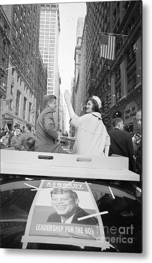 Democracy Metal Print featuring the photograph Senator John Kennedy And Jackie Kennedy by Bettmann