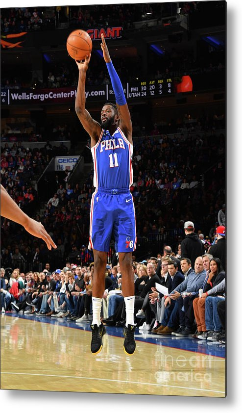 Nba Pro Basketball Metal Print featuring the photograph Utah Jazz V Philadelphia 76ers by Jesse D. Garrabrant