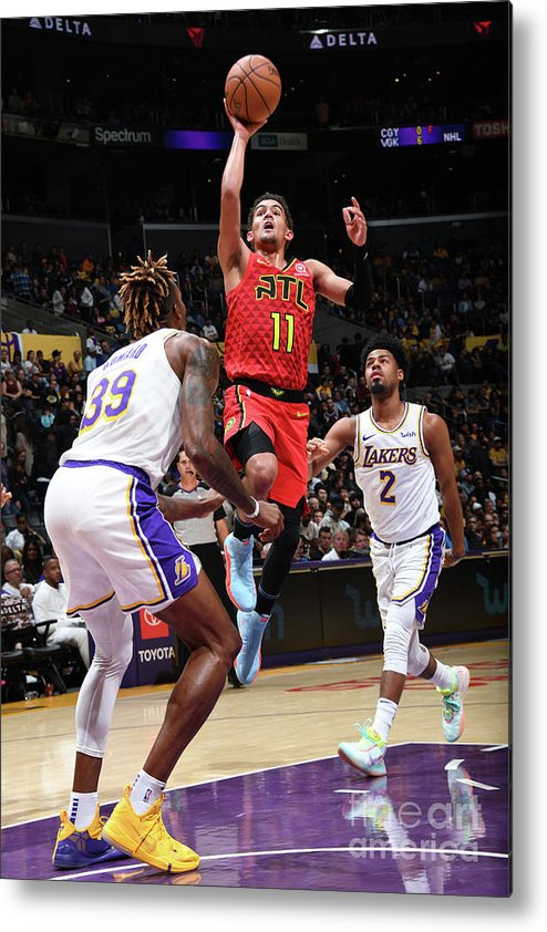 Nba Pro Basketball Metal Print featuring the photograph Atlanta Hawks V Los Angeles Lakers by Andrew D. Bernstein