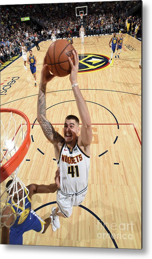 Nba Pro Basketball Metal Print featuring the photograph Golden State Warriors V Denver Nuggets by Garrett Ellwood