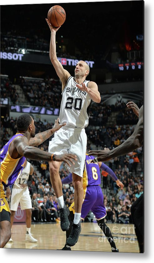Nba Pro Basketball Metal Print featuring the photograph Los Angeles Lakers V San Antonio Spurs by Mark Sobhani