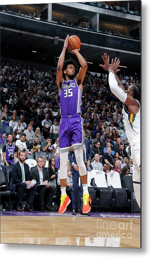 Nba Pro Basketball Metal Print featuring the photograph Utah Jazz V Sacramento Kings by Rocky Widner
