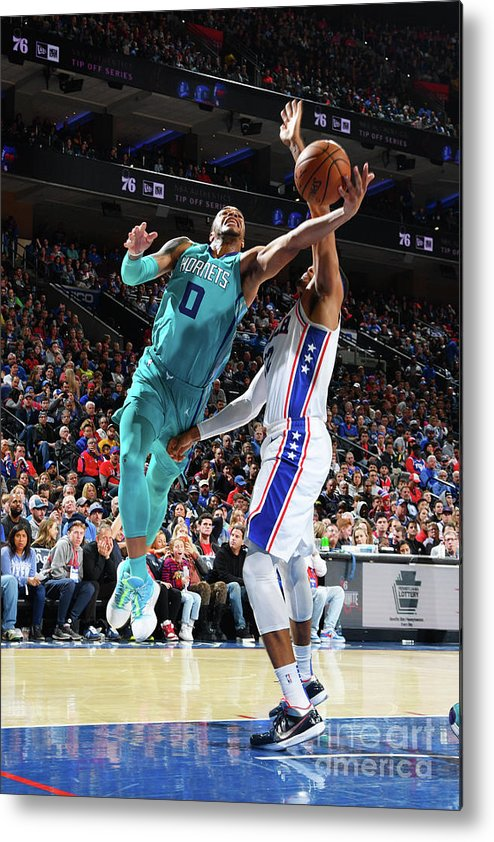 Nba Pro Basketball Metal Print featuring the photograph Charlotte Hornets V Philadelphia 76ers by Jesse D. Garrabrant