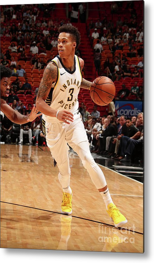 Nba Pro Basketball Metal Print featuring the photograph Indiana Pacers V Miami Heat by Issac Baldizon
