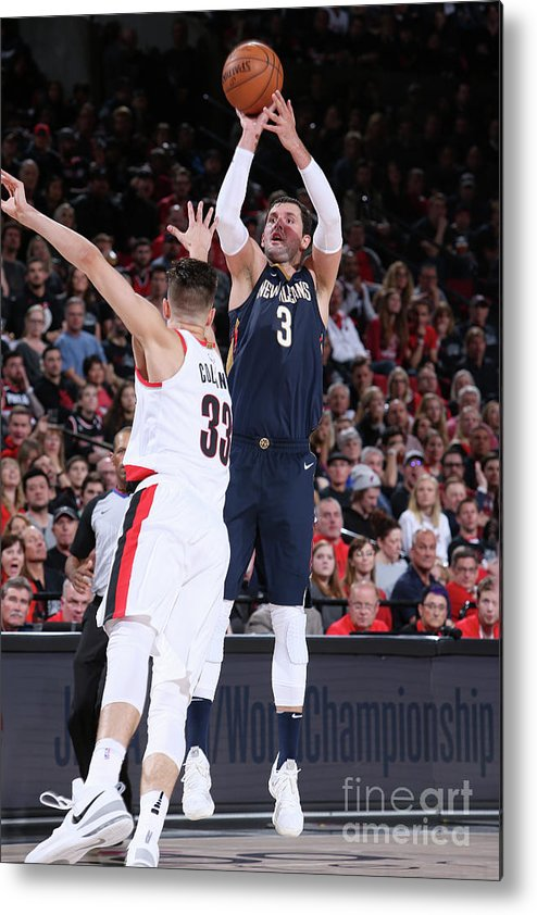 Playoffs Metal Print featuring the photograph New Orleans Pelicans V Portland Trail by Sam Forencich