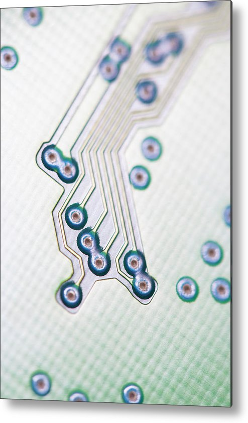 Electrical Component Metal Print featuring the photograph Close-up Of A Circuit Board by Nicholas Rigg