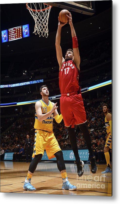 Nba Pro Basketball Metal Print featuring the photograph Toronto Raptors V Denver Nuggets by Garrett Ellwood