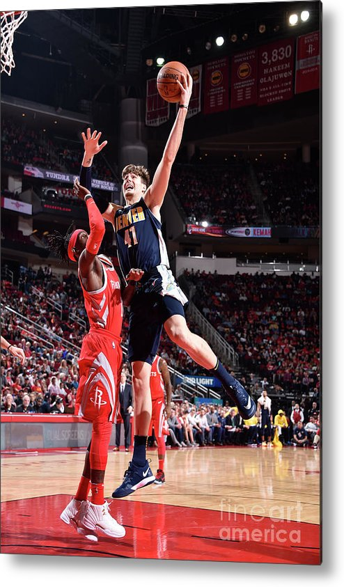 Nba Pro Basketball Metal Print featuring the photograph Denver Nuggets V Houston Rockets by Bill Baptist
