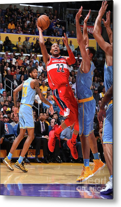 Nba Pro Basketball Metal Print featuring the photograph Washington Wizards V Los Angeles Lakers by Andrew D. Bernstein