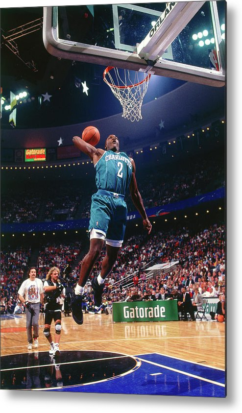 Nba Pro Basketball Metal Print featuring the photograph 1992 Slam Dunk Contest Larry Johnson by Andrew D. Bernstein
