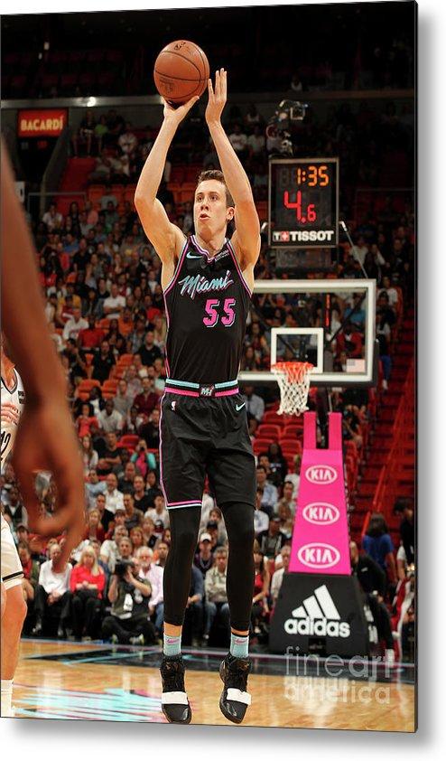 Nba Pro Basketball Metal Print featuring the photograph Brooklyn Nets V Miami Heat by Oscar Baldizon