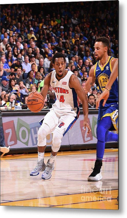 Nba Pro Basketball Metal Print featuring the photograph Detroit Pistons V Golden State Warriors by Noah Graham