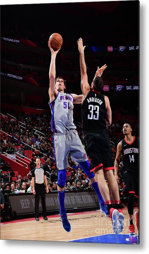 Nba Pro Basketball Metal Print featuring the photograph Houston Rockets V Detroit Pistons by Chris Schwegler