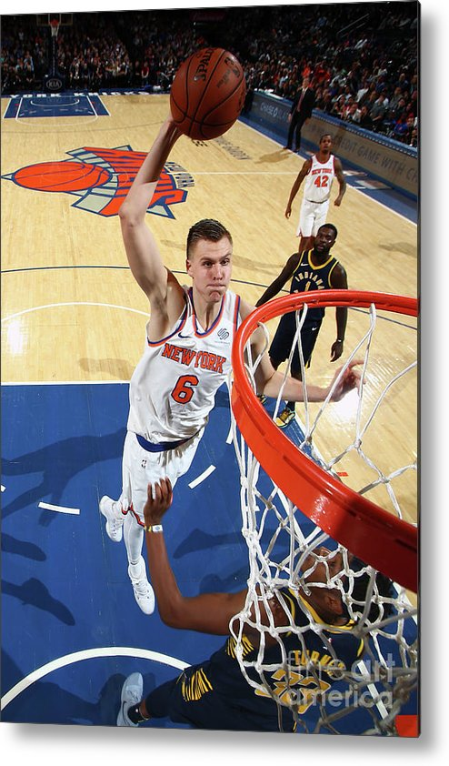Nba Pro Basketball Metal Print featuring the photograph Indiana Pacers V New York Knicks by Nathaniel S. Butler