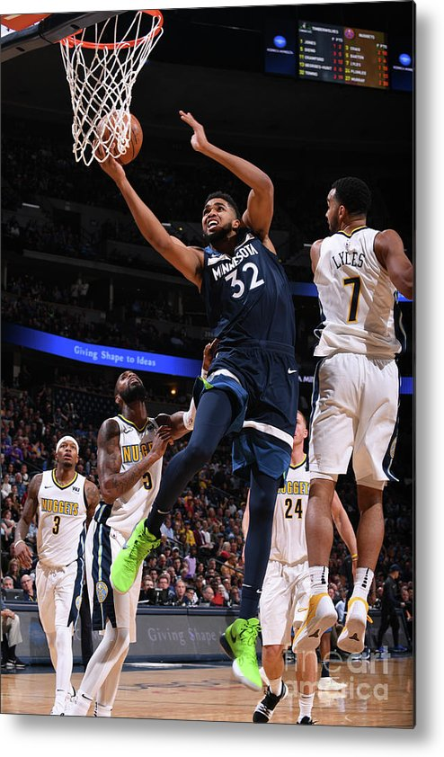Nba Pro Basketball Metal Print featuring the photograph Minnesota Timberwolves V Denver Nuggets by Bart Young
