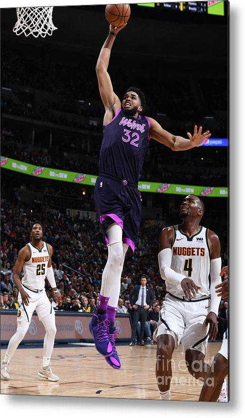 Nba Pro Basketball Metal Print featuring the photograph Minnesota Timberwolves V Denver Nuggets by Garrett Ellwood