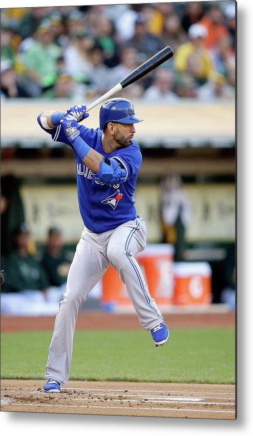 American League Baseball Metal Print featuring the photograph Toronto Blue Jays V Oakland Athletics by Ezra Shaw