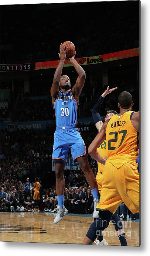 Nba Pro Basketball Metal Print featuring the photograph Utah Jazz V Oklahoma City Thunder by Zach Beeker