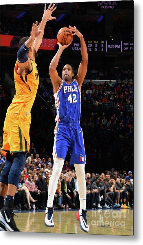 Nba Pro Basketball Metal Print featuring the photograph Utah Jazz V Philadelphia 76ers by Jesse D. Garrabrant