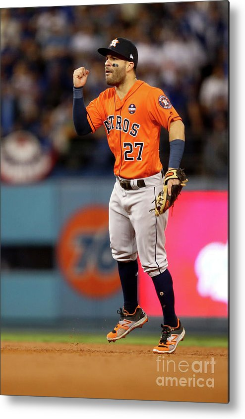 Second Inning Metal Print featuring the photograph World Series - Houston Astros V Los by Ezra Shaw
