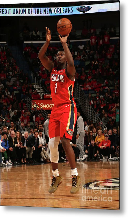 Smoothie King Center Metal Print featuring the photograph Zion Williamson by Layne Murdoch Jr.