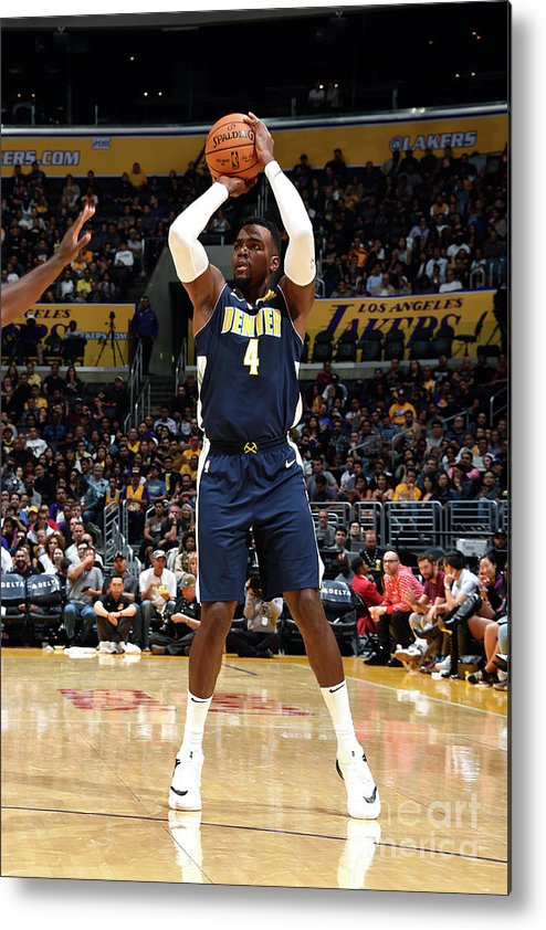 Nba Pro Basketball Metal Print featuring the photograph Denver Nuggets V Los Angeles Lakers by Andrew D. Bernstein