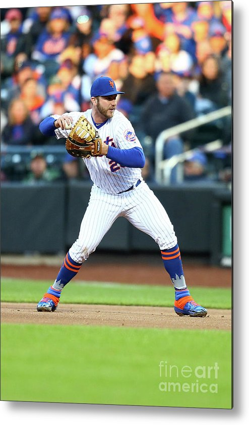People Metal Print featuring the photograph Milwaukee Brewers V New York Mets by Mike Stobe