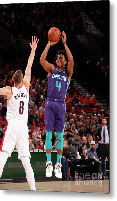 Nba Pro Basketball Metal Print featuring the photograph Charlotte Hornets V Portland Trail by Cameron Browne