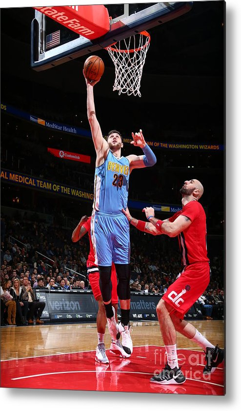 Jusuf Nurkić Metal Print featuring the photograph Denver Nuggets V Washington Wizards by Ned Dishman