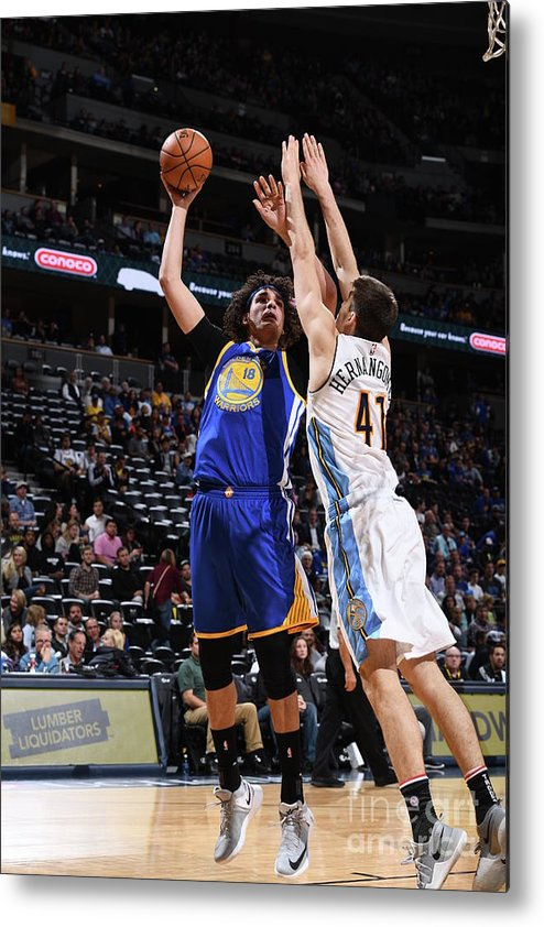 Nba Pro Basketball Metal Print featuring the photograph Golden State Warriors V Denver Nuggets by Garrett Ellwood