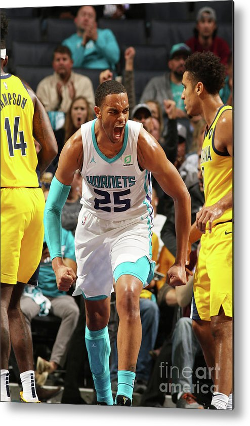 Nba Pro Basketball Metal Print featuring the photograph Indiana Pacers V Charlotte Hornets by Brock Williams-smith
