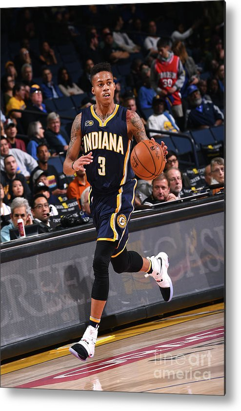 Nba Pro Basketball Metal Print featuring the photograph Indiana Pacers V Golden State Warriors by Noah Graham