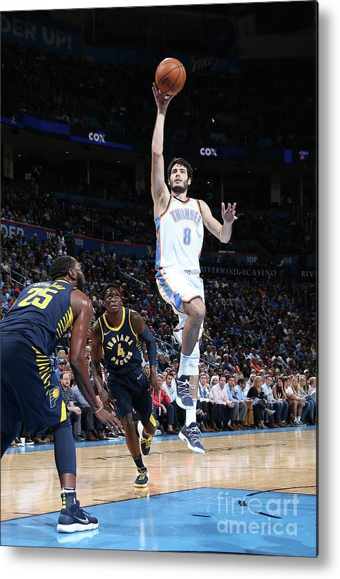 Nba Pro Basketball Metal Print featuring the photograph Indiana Pacers V Oklahoma City Thunder by Layne Murdoch