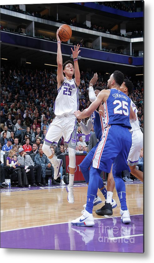 Nba Pro Basketball Metal Print featuring the photograph Philadelphia 76ers V Sacramento Kings by Rocky Widner